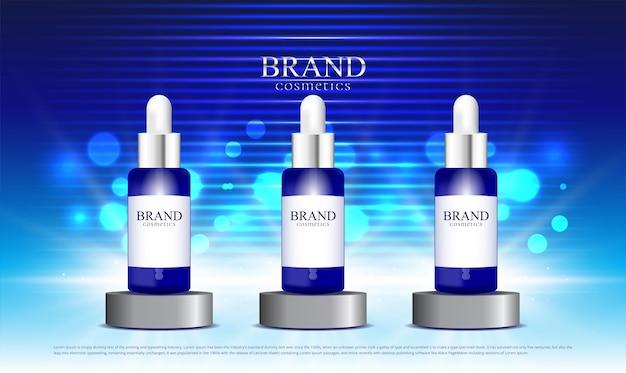 Fundo com efeito de luz azul exibindo cosmético