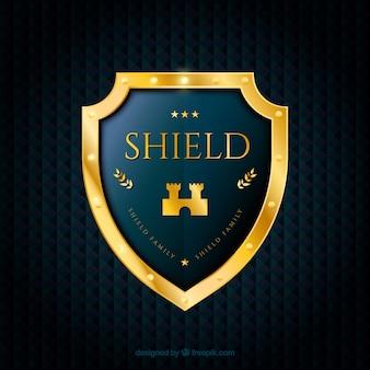 Fundo com elegante escudo dourado