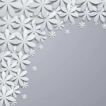 Fundo com elementos florais de papel.