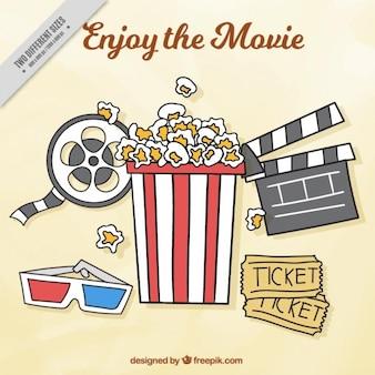 Fundo com elementos típicos do cinema e pipoca