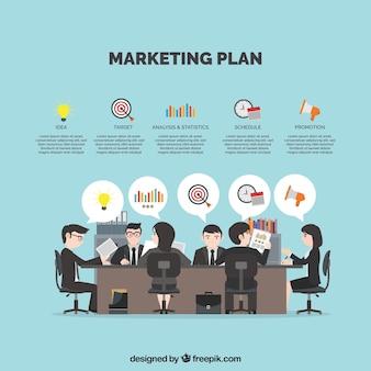 Fundo com empresários planejamento de uma estratégia de marketing