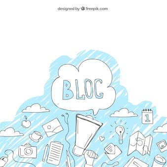 Fundo com esboços de blogue