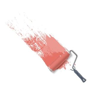 Fundo com escova de rolo e tinta rosa. pintando a parede.