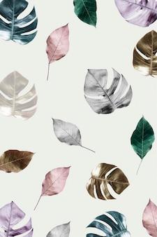 Fundo com estampa de filodendro de folha metálica dividida