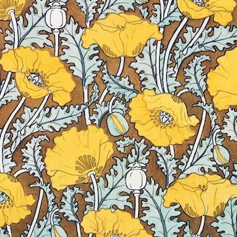 Fundo com estampa de flor de papoula art nouveau