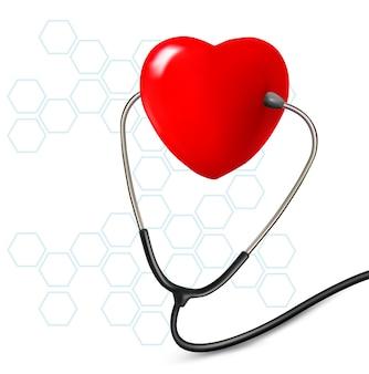 Fundo com estetoscópio contra um coração.