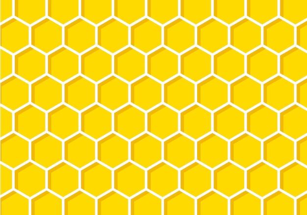 Fundo com favo de mel amarelo. padrão de favo de mel de ilustração vetorial