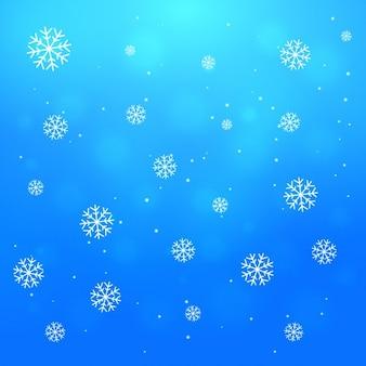 Fundo com flocos de neve caindo
