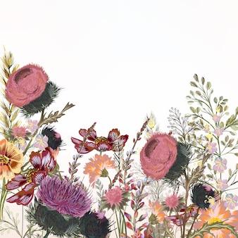 Fundo com flores de aguarela