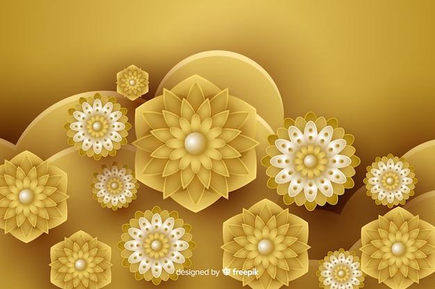 Fundo com flores douradas 3d, design islâmico