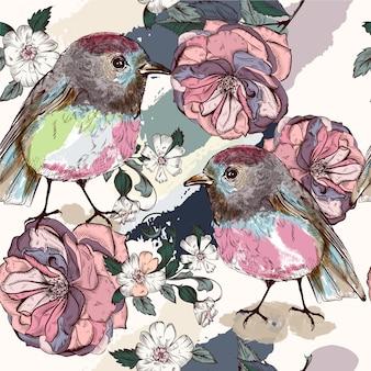 Fundo com flores e pássaros