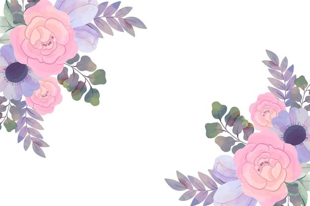 Fundo com flores em aquarela em tons pastel