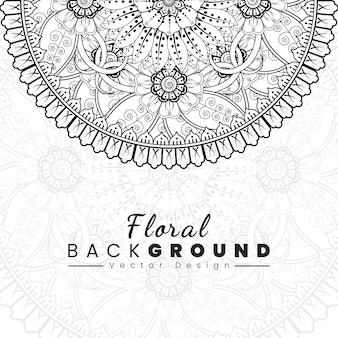 Fundo com flores mehndi capa do livro com textura de flor linhas pretas sobre fundo branco