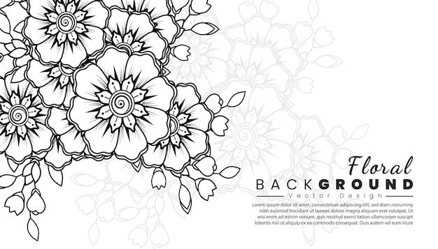 Fundo com flores mehndi linhas pretas sobre fundo branco livro de colorir banner ou cartão