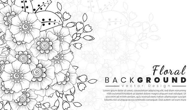 Fundo com flores mehndi linhas pretas sobre fundo branco modelo de banner ou cartão