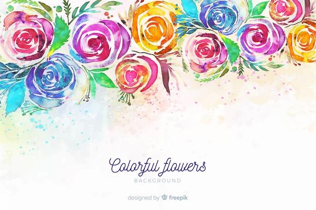 Fundo com flores pintadas coloridas