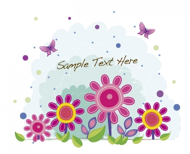 Fundo com flores rosa e borboletas
