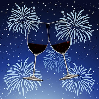 Fundo com fogos de artifício e duas taças de vinho