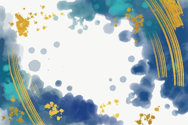 Fundo com folha dourada em aquarela