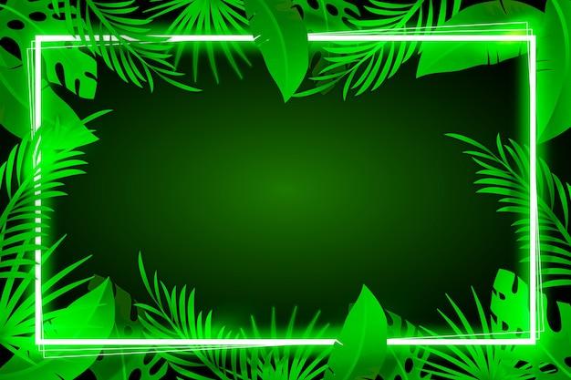 Fundo com folhas realistas com conceito de quadro de néon