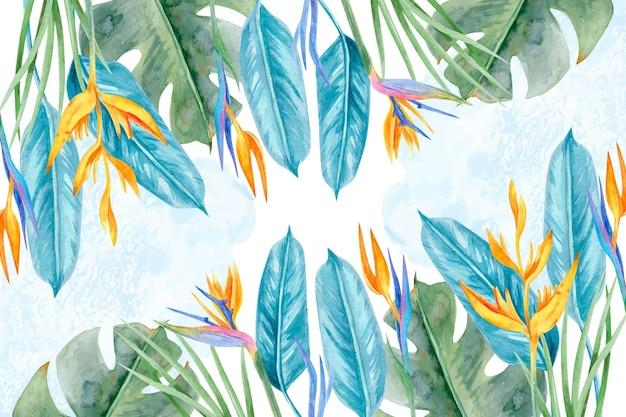 Fundo com folhas tropicais coloridas
