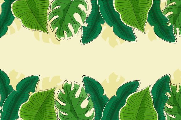 Fundo com folhas tropicais luxuriantes