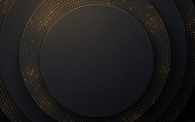 Fundo com formas radiais pretas. decoração abstrata papercut em camadas texturizada com padrão de paillettes douradas
