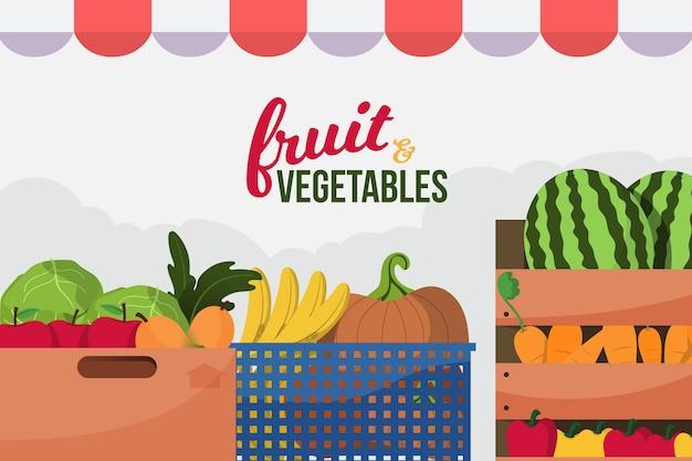 Fundo com frutas e legumes