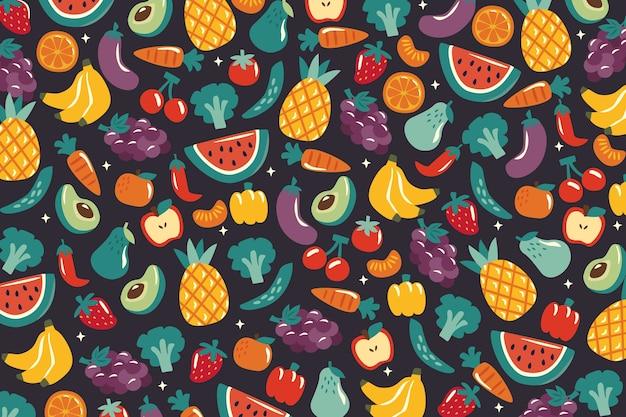 Fundo com frutas e vegetais