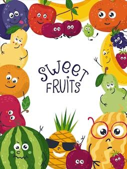 Fundo com frutas fofos