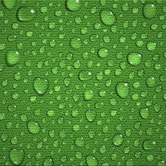 Fundo com grandes e pequenas gotas de água na folha verde
