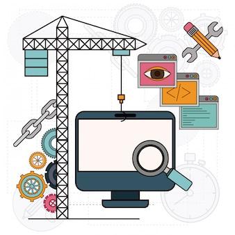 Fundo com guindaste e computador de mesa para o desenvolvimento da construção