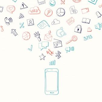Fundo com ícones de mídia social