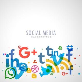 Fundo com ícones sociais dos media