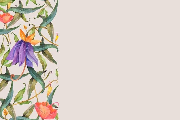 Fundo com ilustração de borda floral