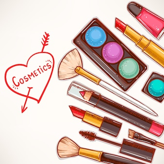 Fundo com ilustração de cosméticos decorativos