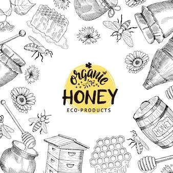 Fundo com ilustração de elementos de mel esboçado