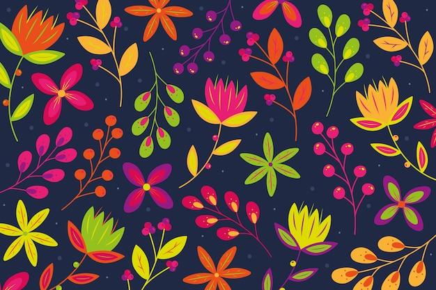 Fundo com impressão floral servindo colorida