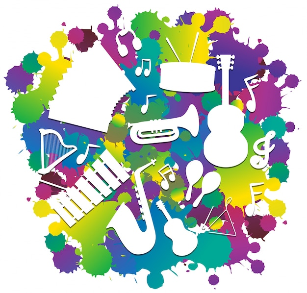 Fundo com instrumentos musicais de silhueta