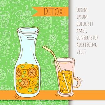 Fundo com jarra de vidro com água com infusão de frutas. desintoxicação para a saúde.