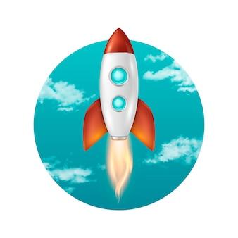Fundo com lançamento de foguete espacial retrô