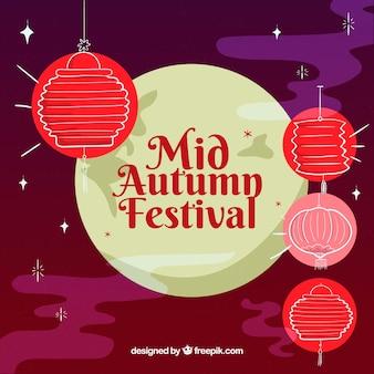Fundo com lanternas vermelhas, festival de meio outono