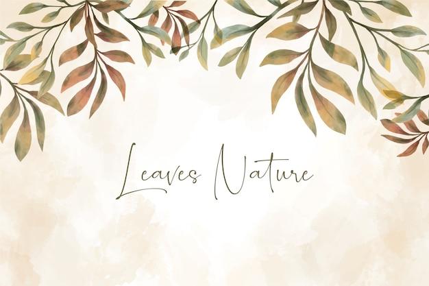 Fundo com lindas folhas em aquarela