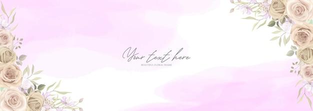 Fundo com lindo quadro floral com rosas cor de rosa