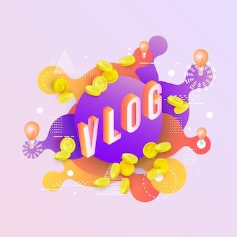 Fundo com líquido colorido neon cai e respingos de capa de vlog.