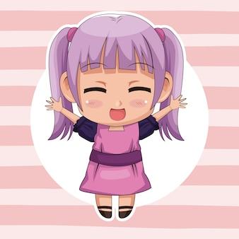 Fundo com listras cor-de-rosa com moldura circular e expressão de expressão de menina fofo anime