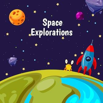 Fundo com lugar para texto com ilustração de planetas e navios de espaço dos desenhos animados