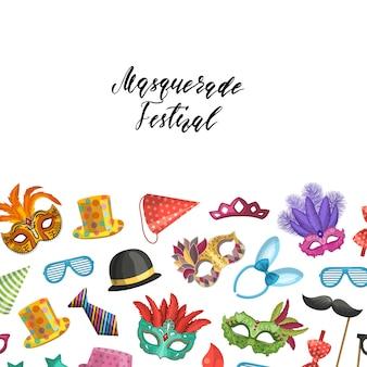 Fundo com lugar para texto com máscaras e ilustração de acessórios de festa