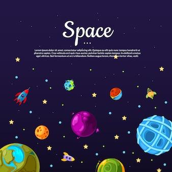 Fundo com lugar para texto com planetas de espaço de desenho animado e conjunto de navio