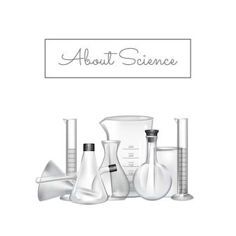 Fundo com lugar para texto e ilustração de tubos de vidro de laboratório químico